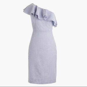 HP 🌸J. CREW One Shoulder Blue Striped Dress 14